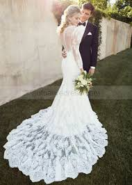 wedding dress lace back and sleeves mermaid scoop neckline court ivory lace tulle wedding dress