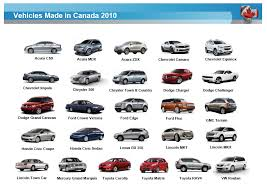 cars made by toyota 25 vehicles made in canada in 2010