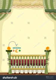 illustration vintage crib decorated baby toys stock vector