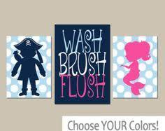 Kids Pirate Bathroom - kid bathroom art print mermaid pirate bath by rhondavousdesigns2
