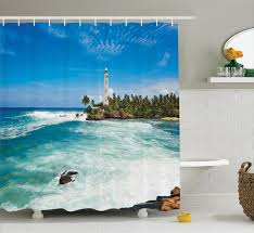 Tropical Beach Shower Curtains by Beach Themed Shower Curtains Coastal Patterned Shower Curtains