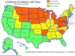 United States Driving Map by Oh Deer November Most Dangerous Month For Deer Car Collisions