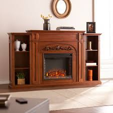 oxley 72 inch autumn oak bookcase electric fireplace media