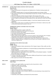 resume construction experience construction office manager resume samples velvet jobs