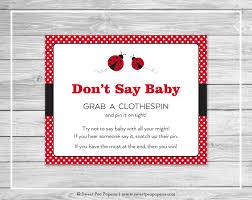 ladybug baby shower don u0027t say baby game printable baby