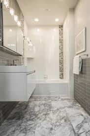grey tile bathroom the shower features a classic combination of