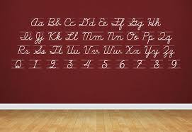 cursive d u0027nealian alphabet u0026 numbers wall decal u2013 easy decals