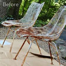before and after rusty metal chairs to modern outdoor set curbly