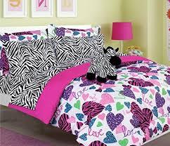 Purple Full Size Comforter Sets Tween Girls Kids Bedding Misty Zebra Bed In A Bag Twin And Full