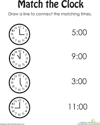 match the clock worksheet education com