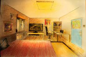 Building Bedroom Furniture by How To Draw One Point Perspective Bedroom With Furniture Youtube