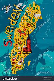 Map Sweden Illustrated Map Sweden Stock Vector 440859223 Shutterstock