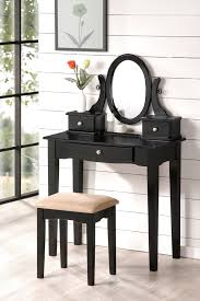 black makeup desk with drawers narrow black makeup vanity with oval mirror and three drawers plus