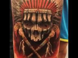 inked magazine three d skull with headdress tattoo steve butcher