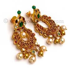 chandbali earrings antique chand bali earrings with stones 22k gold gold jewelry