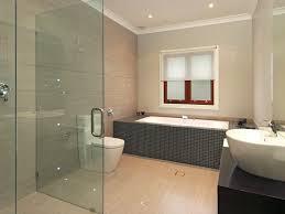 impressive contemporary bathroom design with marble wall and white lovable contemporary bathroom idea with square grey bathtub and glass shower cabin also elegant white washbasin