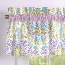aqua and purple jasmine window valance rod pocket carousel designs