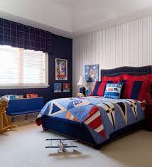 bedroom blue walls with roman shades and wall murals also window treatments and navy blue walls with striped