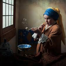 earring girl girl with a pearl earring blowing bubbles photograph by levin