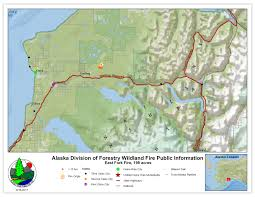 Alaska On A Map by Firefighters Working On East Fork Fire In Kenai National Wildlife