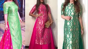 new boat neck brocade fabric kurta design ideas for wedding season