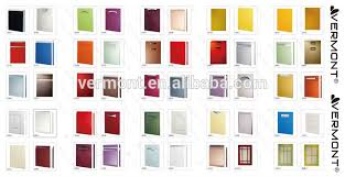 european style pvc molded kitchen cabinet door colored glass