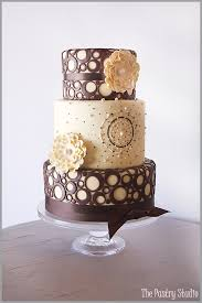 brown cake yellow and brown wedding cake i like the center one the best maybe
