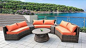 Curved Patio Sofa 6 Seat Curved Outdoor Sofa 9 3 Pc Sectional