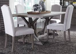 carolina lakes trestle table 5 piece dining set in wire brushed