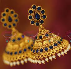 fancy jhumka earrings j5604 blue broad fancy jhumka online artificial fashion jewellery