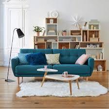 deco canapé déco de salon avec canapé bleu canard type retro vintage