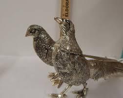 vintage silver pheasant etsy