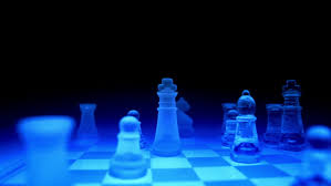 Futuristic Chess Set Orbital Shot Of A Blue Futuristic Glass Chess Board Stock Footage