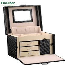 necklace storage organizer images Finether diamond pattern leather necklace jewelry box lockable jpg
