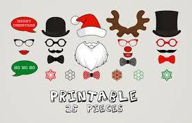 christmas photo booth props printable christmas photo booth moustaches snowflake