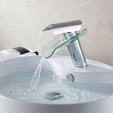 Waterfall Bath Faucets Modern Design Glass Spout Waterfall Bathroom Sink Faucet