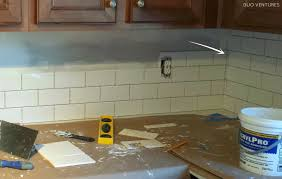 How To Tile A Bathroom Wall by Duo Ventures Kitchen Makeover Subway Tile Backsplash Installation