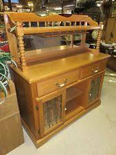 Oak Buffet Server Sideboard Wine Rack Bar Cabinet Rustic Grey Buffet Serving Sideboard