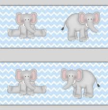 blue chevron elephant wallpaper border wall decals boy nursery