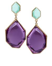 purple earrings lyst asos irregular drop earrings in purple