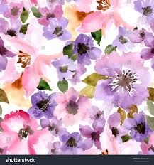 seamless wallpaper summer flowers watercolor painting stock vector