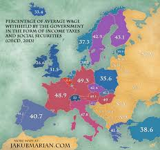 map or europe map of income taxes and social security contributions by country