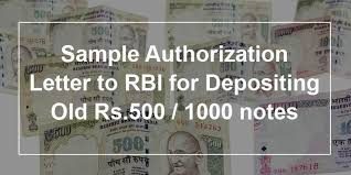 sample authorization letter to rbi for depositing old rs 500