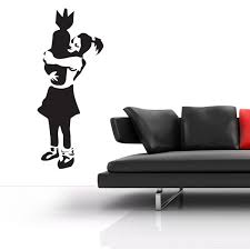 banksy wall stickers banksy wall decor banksy bomb hugger wall sticker