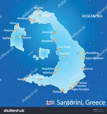 Map Greece by Island Santorini Greece Map On Blue Stock Vector 91280813