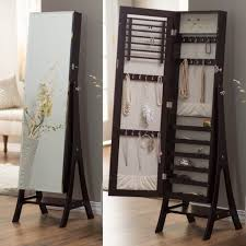 Free Standing Full Length Mirror Jewelry Armoire Furniture Fascinating Pine Wood Large Free Standing Jewelry