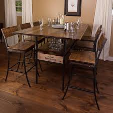 solid oak table with 6 chairs vino vintage farm style pub table with 6 pub chairs wine enthusiast