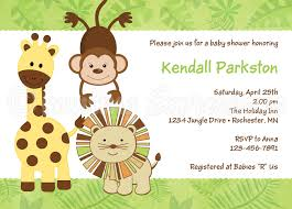 smart green animals themed colors with baby shower invitation