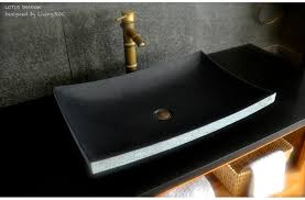 60x40cm black basalt stone bathroom basin lotus