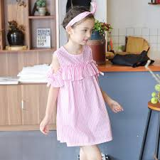 2017 everweekend summer stripes bow dress pink and blue
